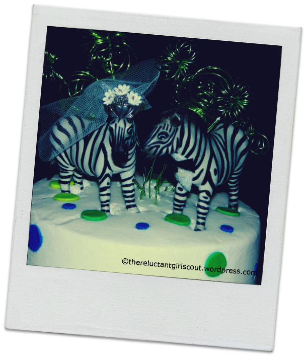 Zebra wedding cake topper.