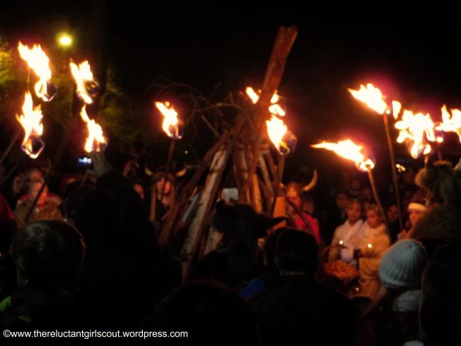 Vikings lighting the jule fire, Poulsbo, WA