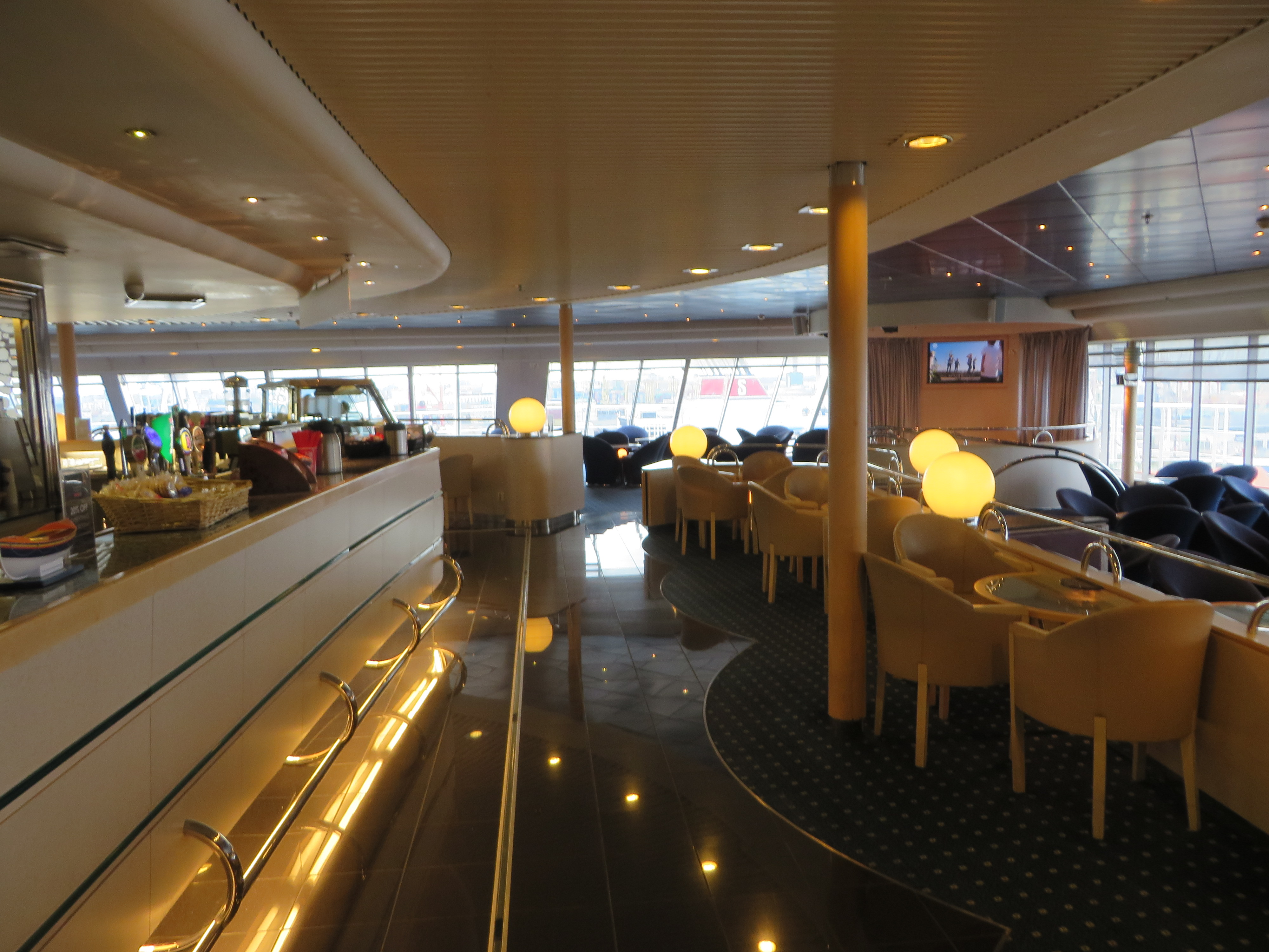 Irish Ferries Club Class which looks the way I imagined the Love Boat's Lido Deck.