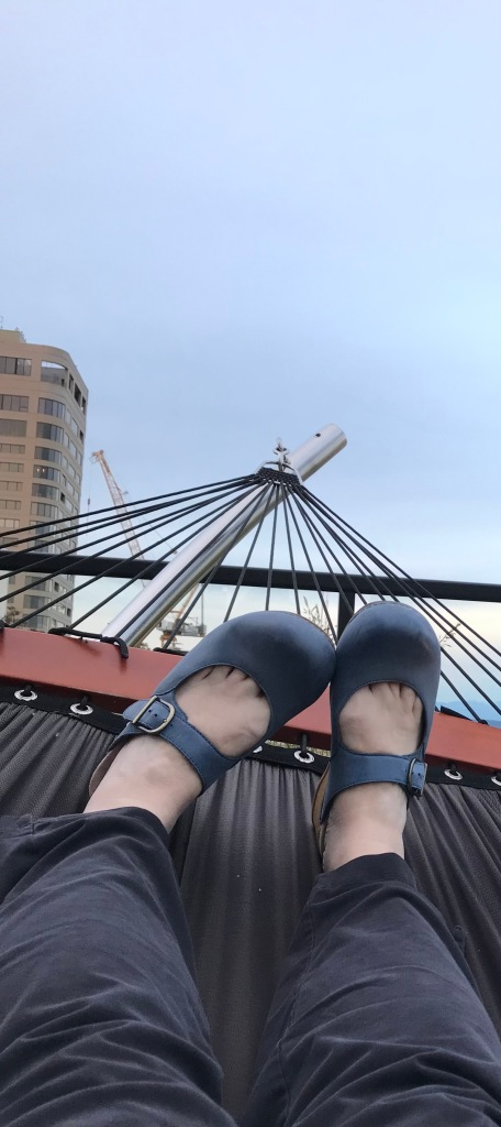 lower legs in pants, blue shoes resting on hammock, sky above and beyond.